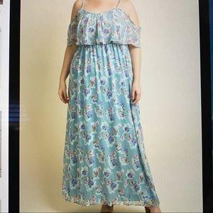 floral cold shoulder plus Maxi maternity dress